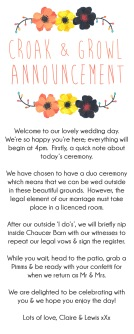 A little note of how the duo ceremony will work; sadly these were never needed because of the weather.