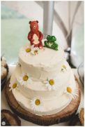 Homemade wedding cake topped with Frog & Bear.