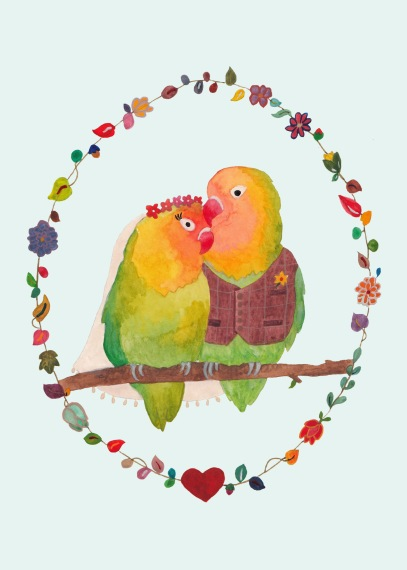 Lovebirds Ready to Write Wedding Invitation Simple