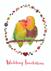 Second option for the Lovebirds Ready to Write wedding invitation with text.