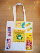 Frog & Pencil Launch goody bag with all the treats