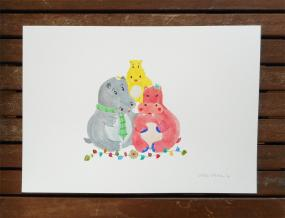 hippo-family-painting