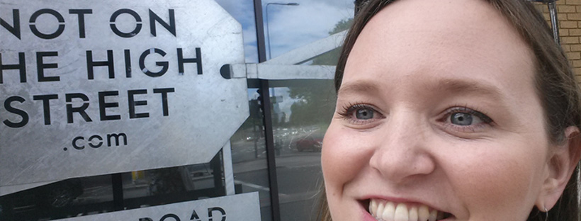 Frog & Pencil outside Not On The High Street HQ after her Pitch!