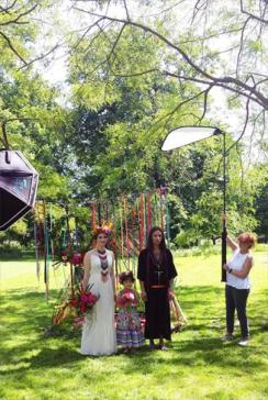 Mexicana Photoshoot Behind the Scenes Bride & Groom family shot
