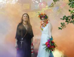 Mexicana Photoshoot Behind the Scenes Bride & Groom smoke bomb shot