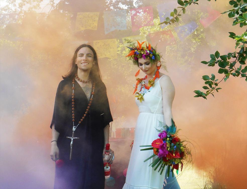 Mexicana Photoshoot Behind the Scenes Bride & Groom smoke bomb shot