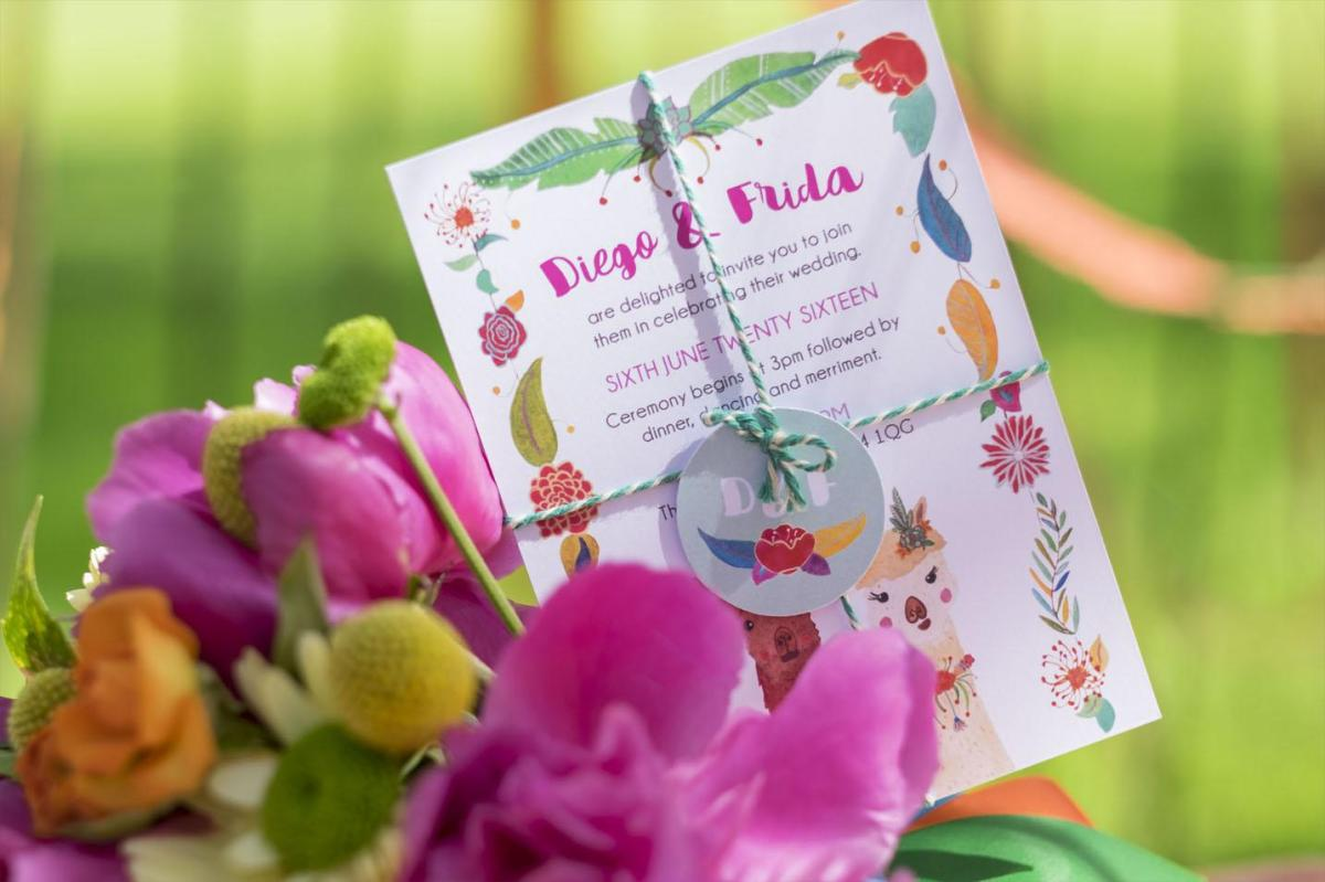 Frog & Pencil Diego & Frida Wedding Invitation from Mexicana Photoshoot - Credit to Bigphatphotos