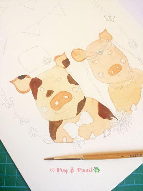 Adding colour to a piggy Ready-to-Write Wedding Invitation design