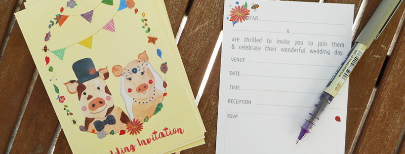 Mr & Mrs Piggy Ready-to-Write Wedding Invitation