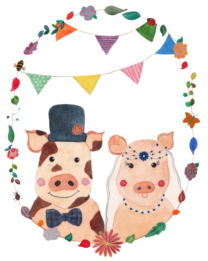 Clean file of Mr & Mrs Piggy Illustration