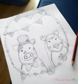 Frog & Pencil sketch of Mr & Mrs Piggy
