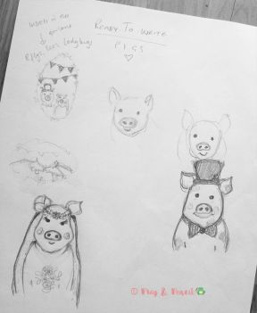 Sketch ideas for a piggy Ready-to-Write Wedding Invitation