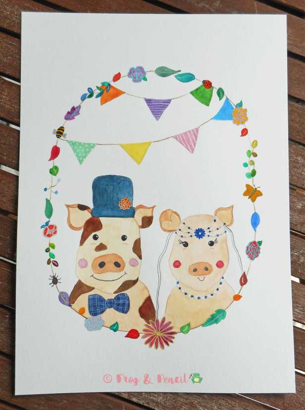 Mr & Mrs Piggy Watercolour illustration by Frog & Pencil
