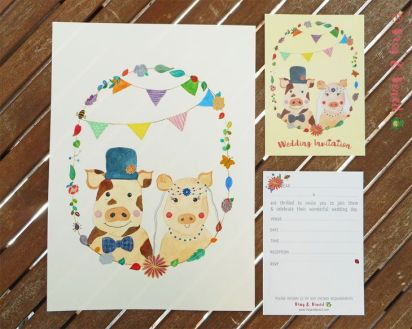 Mr & Mrs Piggy Ready-to-Write Wedding Invitation with original.