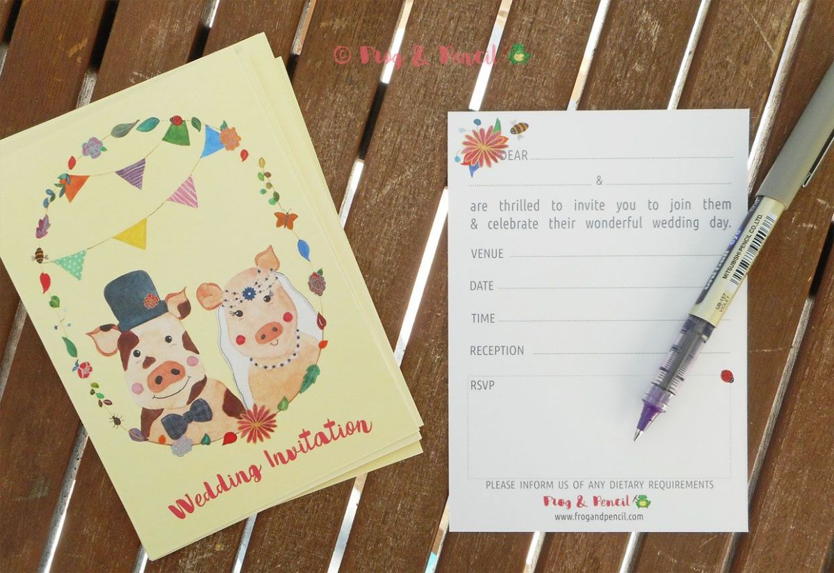 Mr & Mrs Piggy Ready-to-Write Wedding Invitation Front & Back