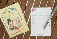 Mr & Mrs Piggy Ready-to-Write Wedding Invitation Front & Back