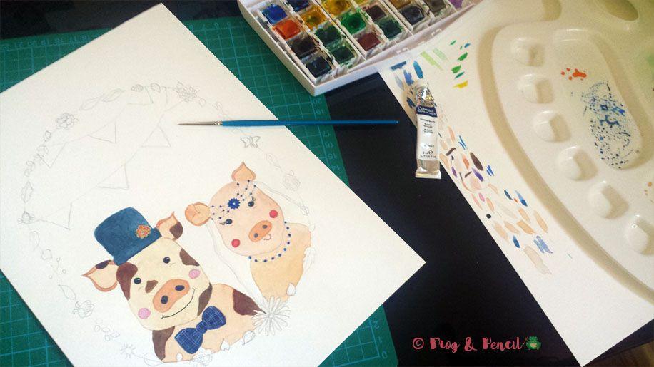 Work in progress, painting up Mr & Mrs Piggy illustration