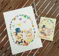 Congratulation Wedding Card featuring Mr & Mrs Piggy