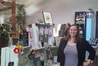 Frog & Pencil illustrator with her stand for the Oxnead Wedding Show