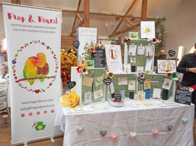 Final Frog & Pencil set up for the Oxnead Wedding Show.