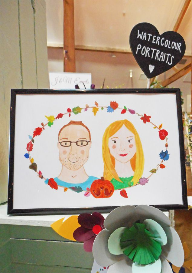 Frog & Pencil watercolour portrait at the Oxnead Wedding Show.