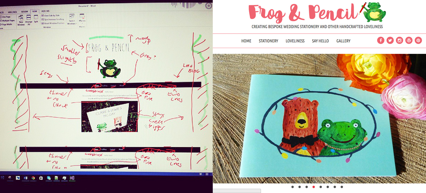 The evolution of Frog & Pencil's website.
