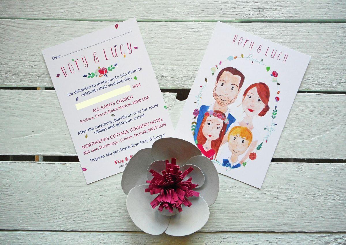 Lucy & Rory's bespoke wedding invitations.