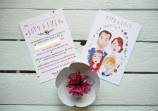 Lucy & Rory's bespoke wedding invitations.