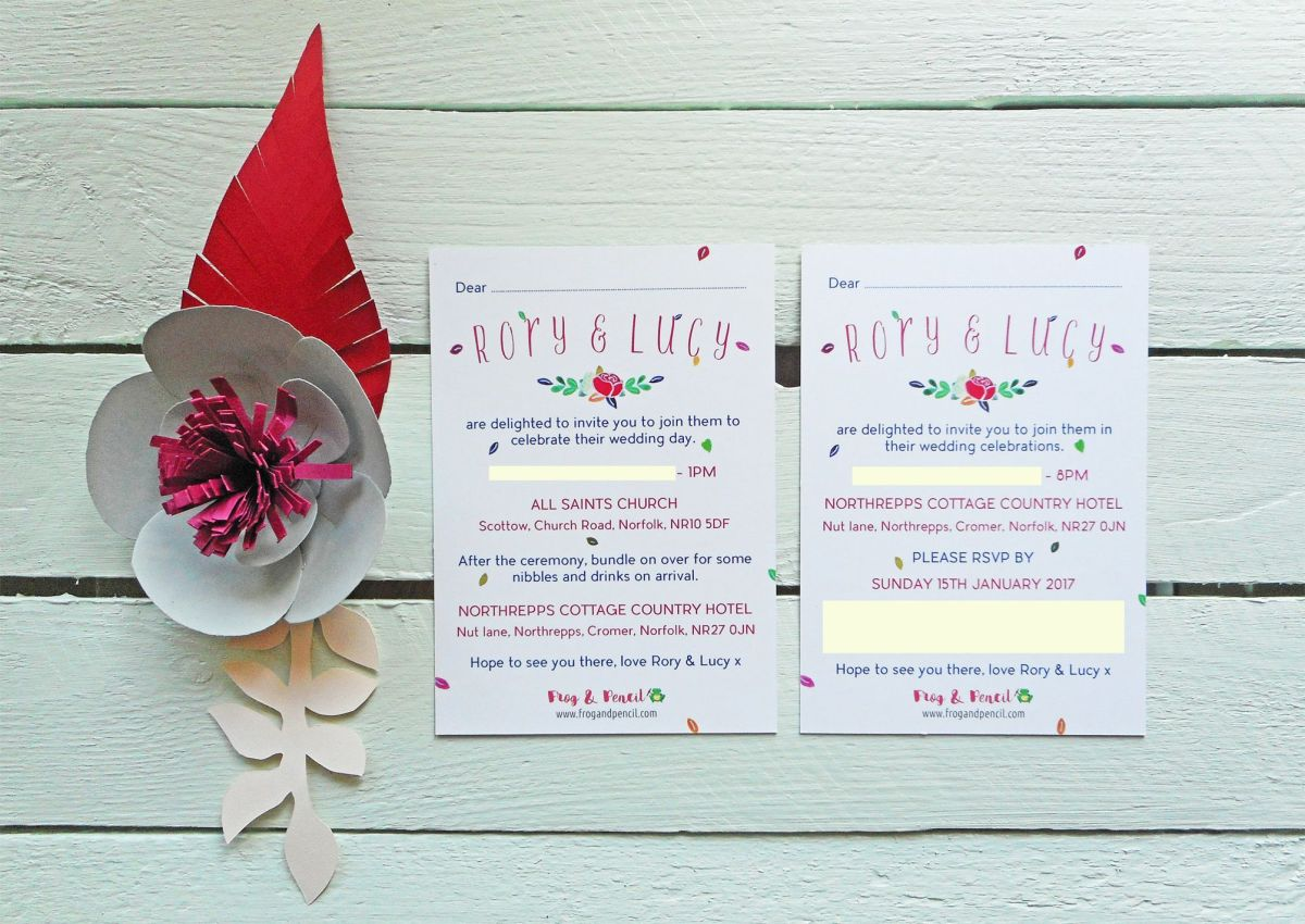 Lucy & Rory's bespoke wedding invitations