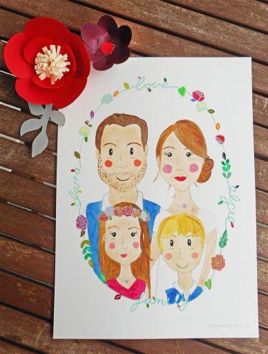 Lucy & Rory's family watercolour portrait.
