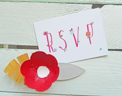 Lucy & Rory's bespoke RSVP card.