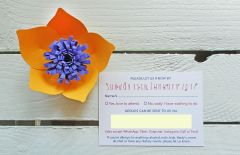 Lucy & Rory's RSVP card details.