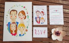 Lucy & Rory's Frog & Pencil bespoke wedding stationery.