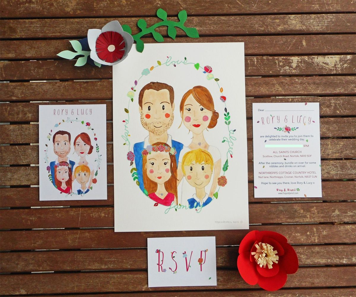 Lucy & Rory's bespoke wedding invitations by Frog & Pencil.