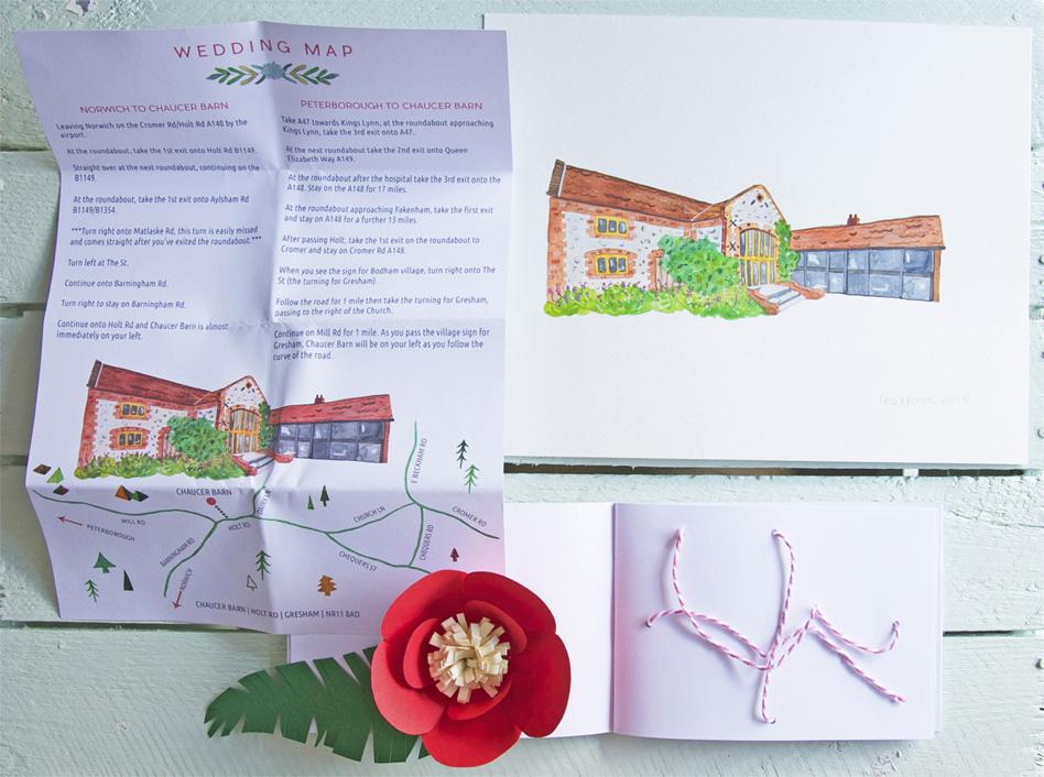 Abi & Rob Little Bespoke Book Wedding Invitation unfolded Wedding Map of Chaucer Barn, Norfolk.