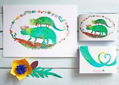 Abi & Rob Little Bespoke Book Wedding Invitation, front & back with original Chameleon watercolour