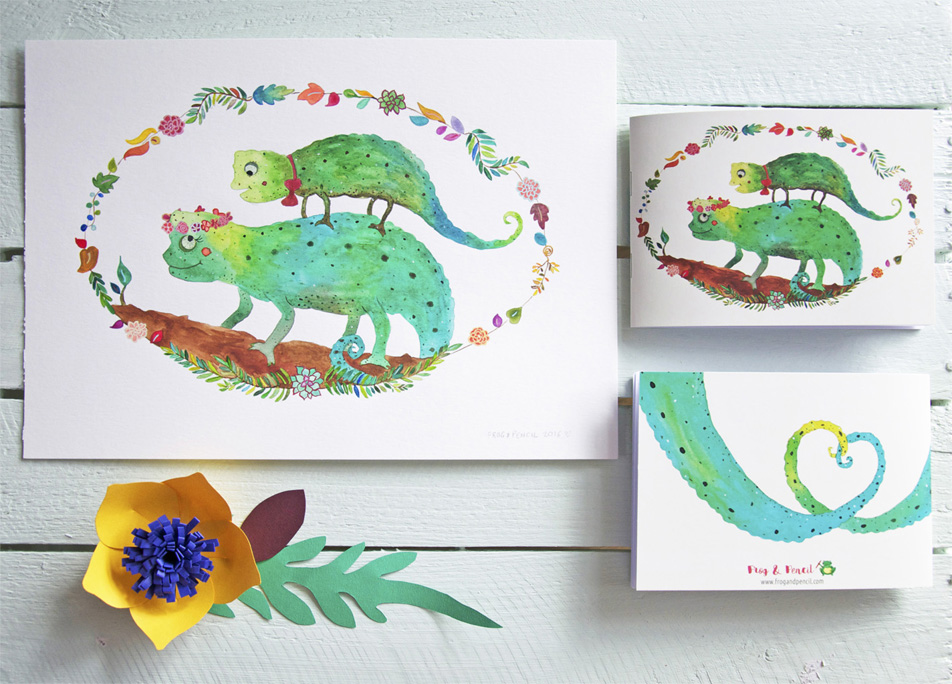 Abi & Rob Little Bespoke Book Wedding Invitation, front & back with original Chameleon watercolour