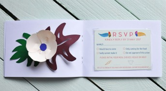 Abi & Rob's Little Bespoke Book Wedding Invitation - RSVP page.