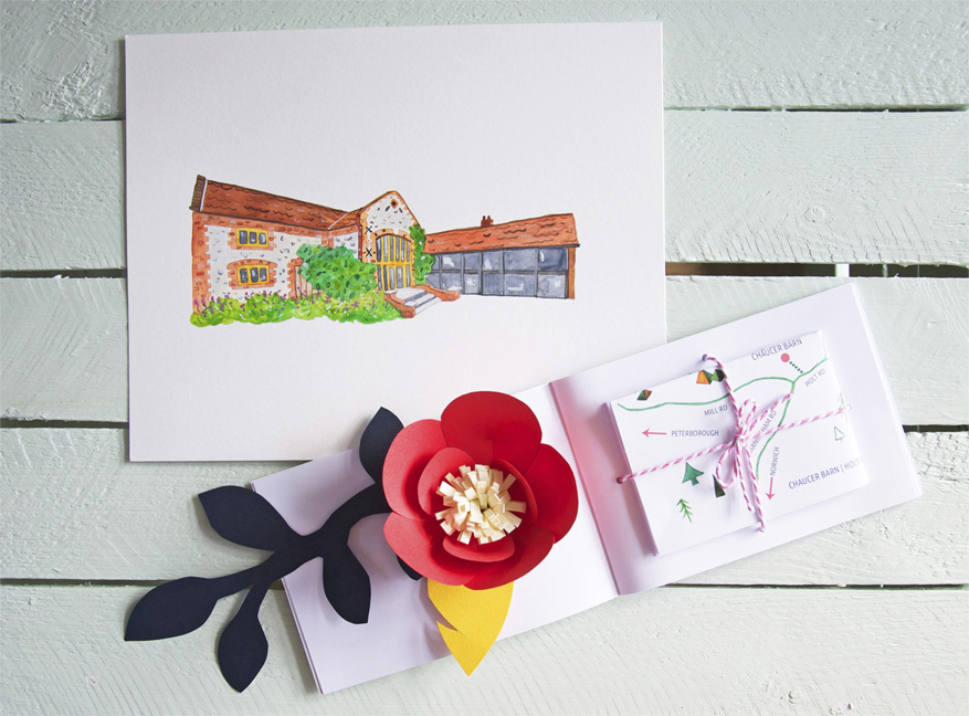 Abi & Rob's Little Bespoke Book Wedding Invitation - map page with original watercolour of Chaucer Barn, Norfolk.