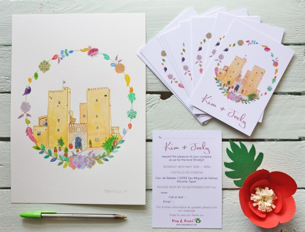 Kim and Jody's personal wedding invites with original painting of Castillo de Conesa