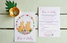 Kim and Jody's personal wedding invitation featuring Castillo de Conesa