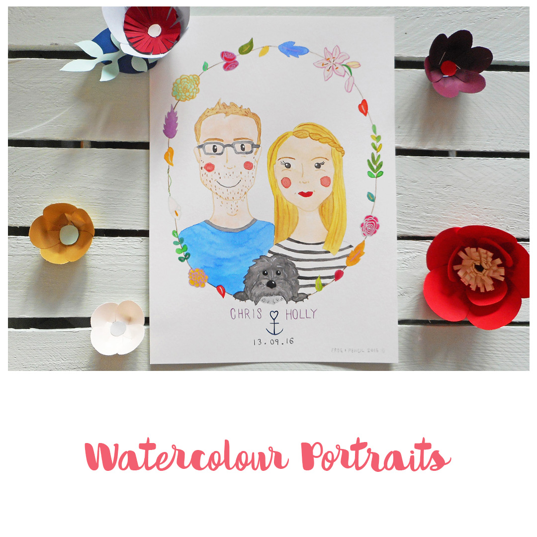 Frog & Pencil Watercolour Portraits available on Etsy