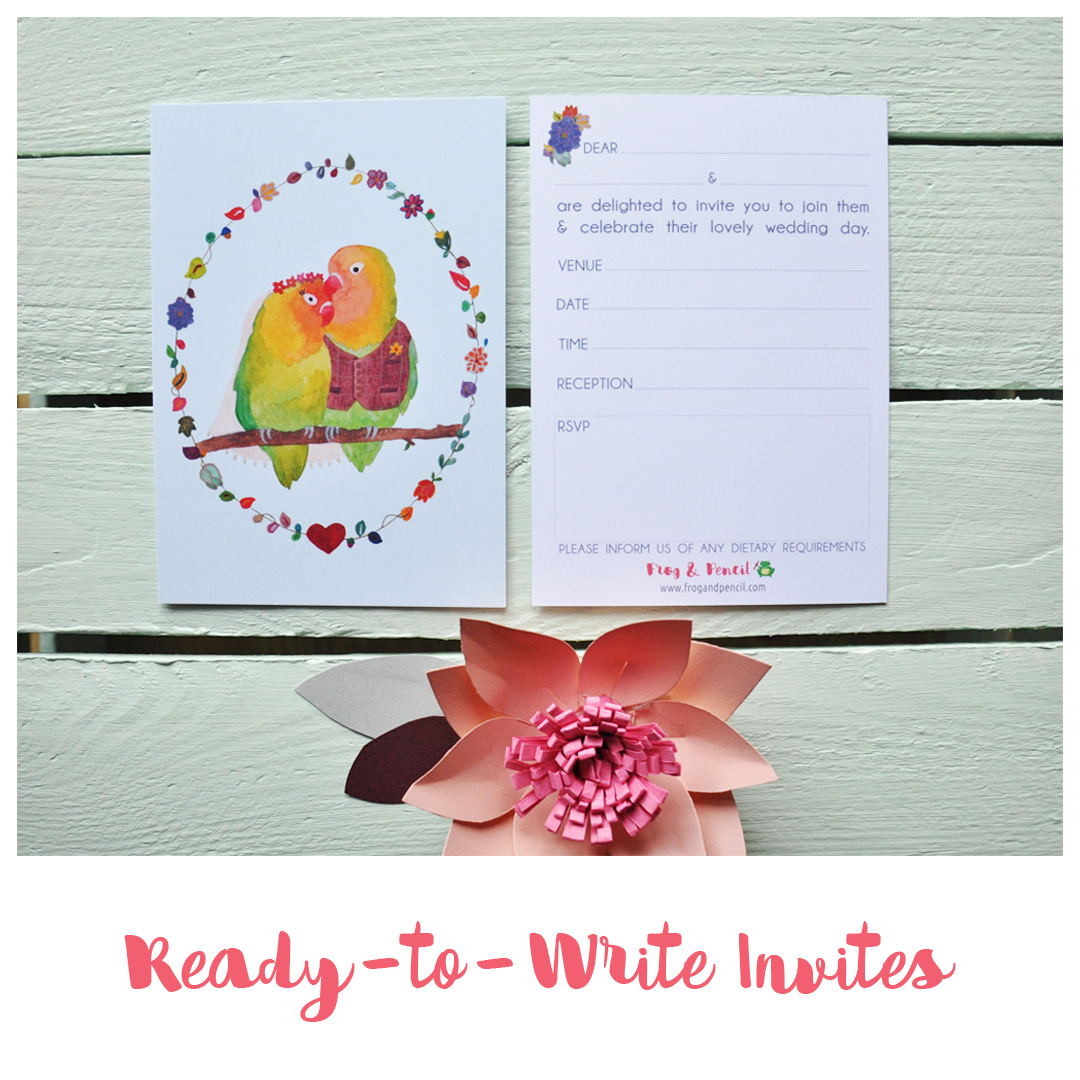 Frog & Pencil Ready-to-Write Wedding Invites available on Etsy
