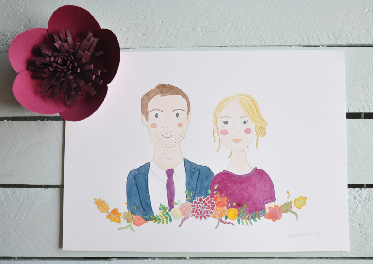 Katherine & Peter Watercolour Couple Portrait.