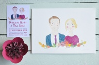Katherine & Peter's Watercolour Couple Portrait with Wedding Invitation