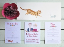 Katherine & Peter's Wedding Stationery Collection with original cat & mouse painting.