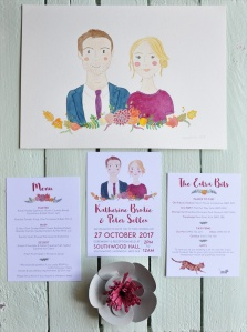 Katherine & Peter's Wedding Stationery Collection with watercolour couple portrait.