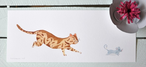 Katherine & Peter's stationery - Watson the cat chasing mouse illustration