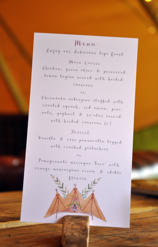 Boho-Tipi Wedding Collection Menu