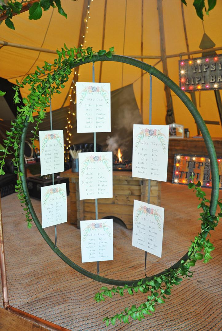 Boho-Tipi Wedding Collection Hoop Table Plan